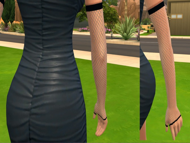 Sims 4 Fingerless Fishnet Gloves and Fishnet Gloves by luckyoyo at Mod The Sims