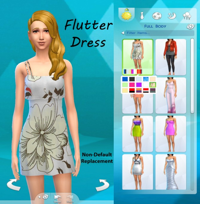 Sims 4 Floral Flutter Dress by adil338 at Mod The Sims