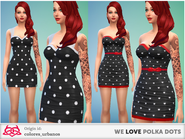Sims 4 we LOVE polka dots dresses by Colores Urbanos at The Sims Resource