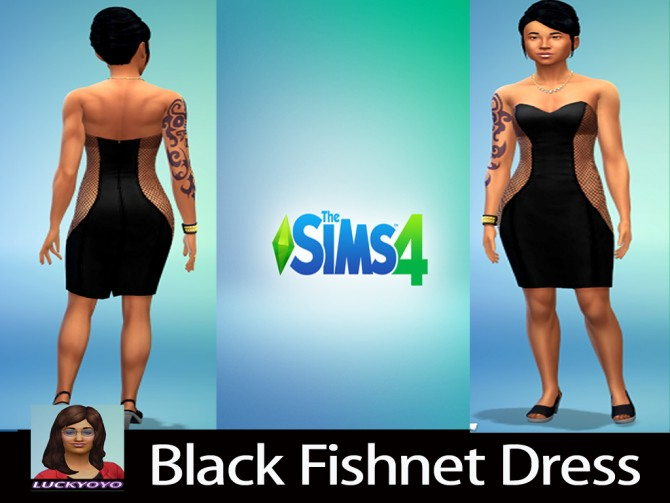 Sims 4 Black Fishnet Dress. by luckyoyo at Mod The Sims
