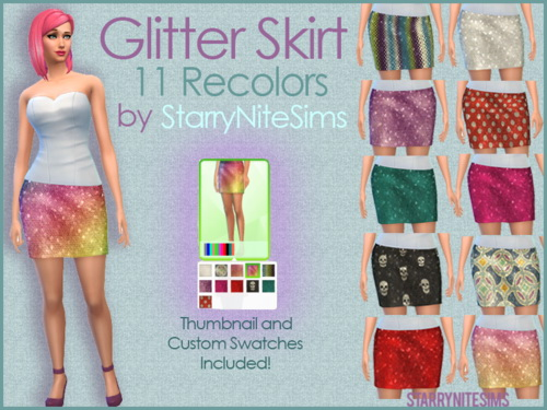 Glitter Skirt 11 Recolors at StarryNiteSims image 2814 Sims 4 Updates