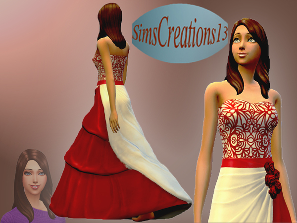 Red And White Wedding Dress by SIMSCREATIONS13 at The Sims Resource image 2823 Sims 4 Updates