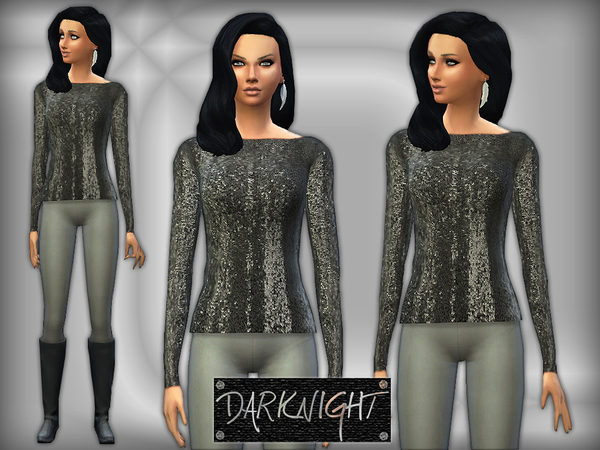 Sims 4 Blackless Sequined Top by DarkNighTt at TSR