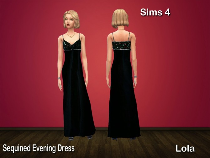 Sims 4 Sequined Party Dress by Lola at Sims and Just Stuff