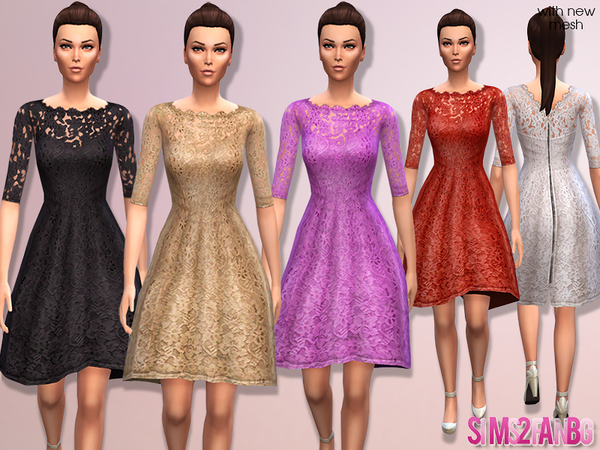 Floral cocktail dresses by sims2fanbg at The Sims Resource image 2922 Sims 4 Updates
