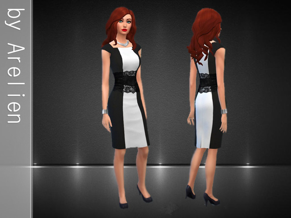 Sims 4 Black and White Dress by Arelian at The Sims Resource