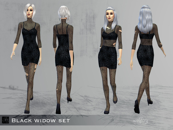 Sims 4 Black widow dresses by Wolfcry at TSR