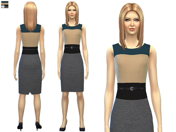Sims 4 Color Block Pencil Dress by SimDetails at The Sims Resource