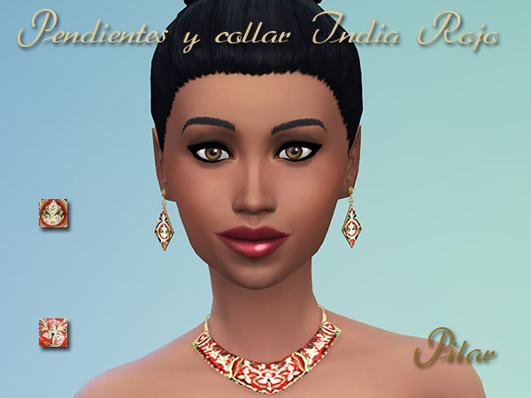 Sims 4 Red India earrings and necklace by Pilar at SimControl