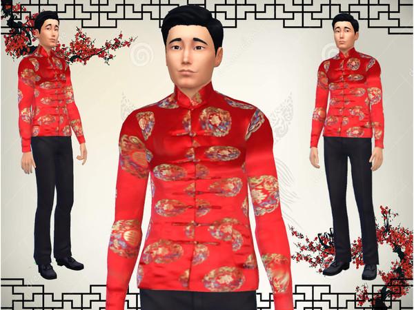 Sims 4 Male chinese jacket by JinxTrinity at TSR