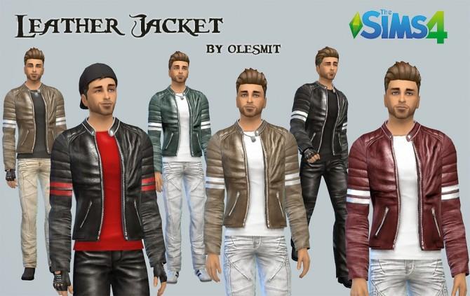 Sims 4 Leather jacket by Olesmit at OleSims