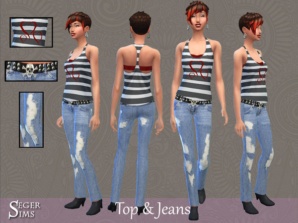 Top & Jeans Set by SegerSims at TSR image 3166 Sims 4 Updates