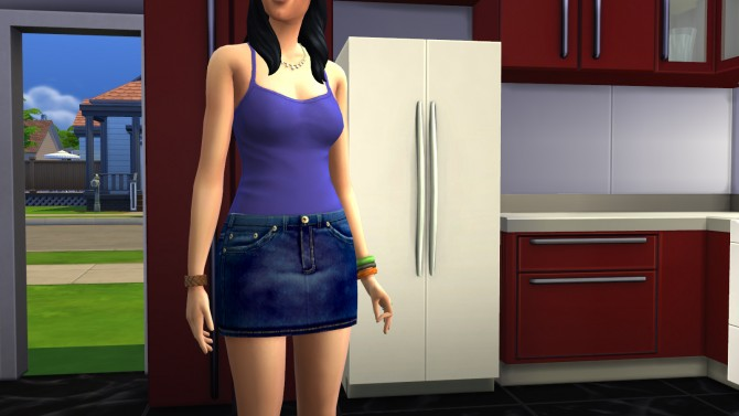 Sims 4 Stitched Denim Mini Skirt by FifthAce2007 at Mod The Sims