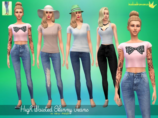 Sims 4 High waisted jeans at In a bad Romance