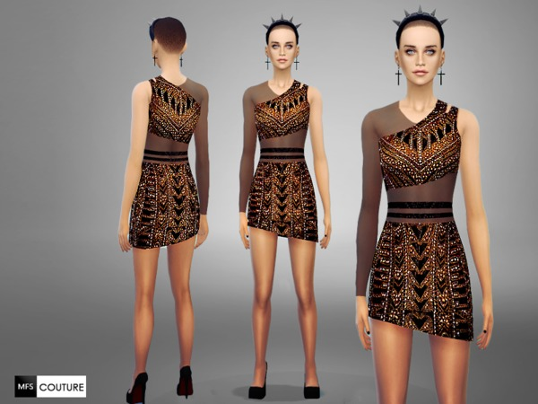 Sims 4 Asymmetrical Dress by Miss Fortune at TSR