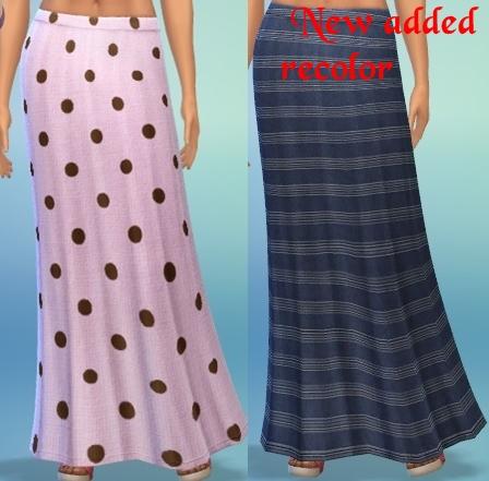 Sims 4 Recolor print to poka dot maxi skirt by mamajanaynay at Simtech Sims4