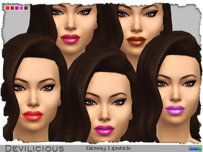 Sims 4 Glossy Lipstick 21 In 1 by Devilicious at TSR