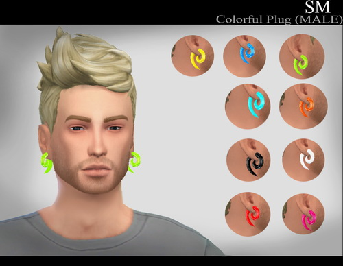 Sims 4 Colorful Plugs (MALE) new mesh at Simaniacos
