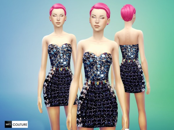 Sims 4 Dress Couture sparkling style by MissFortune at The Sims Resource