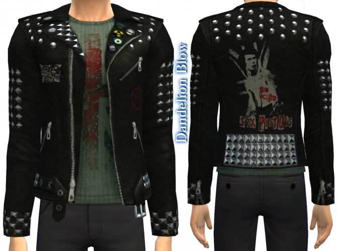 Sims 4 Sex Pistols Leather Jacket by JannyK at Mod The Sims