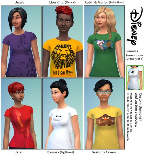 30 Disney themed t shirts at SimFeetUnder image 4030 Sims 4 Updates