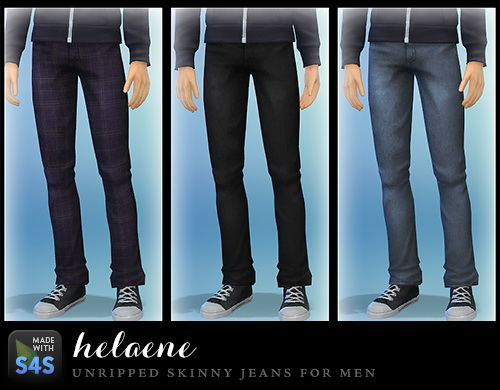 Sims 4 Unripped skinny jeans for males at Simhelaene