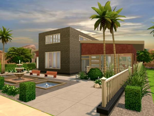 Modern Oasis residential lot by Chemy at The Sims Resource image 436 Sims 4 Updates