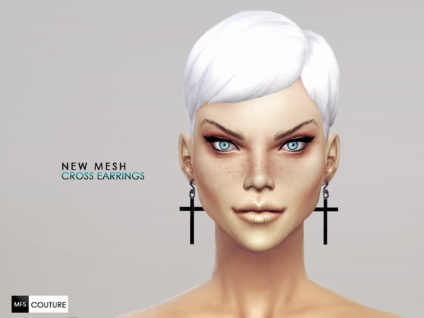 Sims 4 Cross Earrings NEW MESH by MissFortune at The Sims Resource