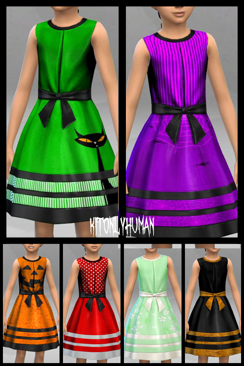 Girl Halloween Dresses at KitOnlyHuman image 4529 Sims 4 Updates