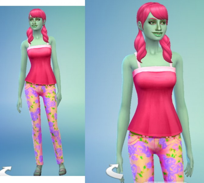 Sims 4 Camisole + Floral Print Pants at Star's Sugary Pixels