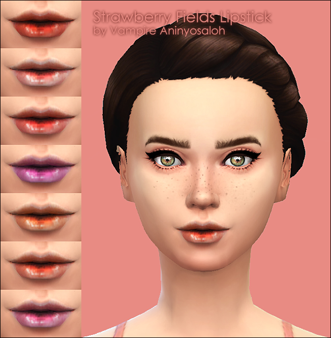 Sims 4 Strawberry Fields Lipstick by Vampire aninyosaloh at Mod The Sims