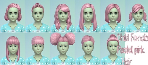 Pastel Pink Hairs for kids at Star's Sugary Pixels image 4828 Sims 4 Updates
