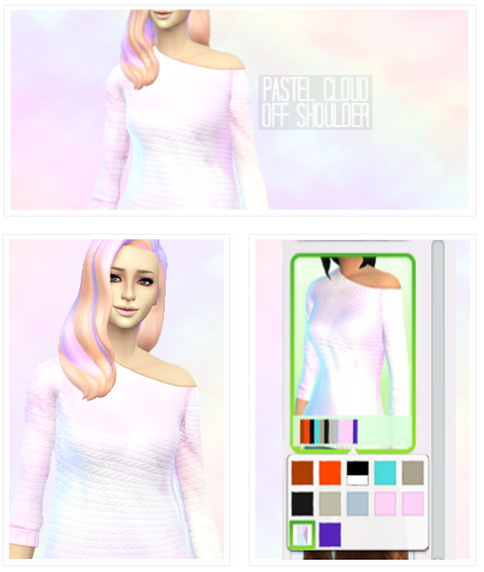 Sims 4 Pastel clouds off shoulder sweater at Simelfe