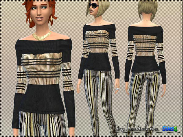 Sims 4 Golden Strip leggings and sweater by bukovka at TSR