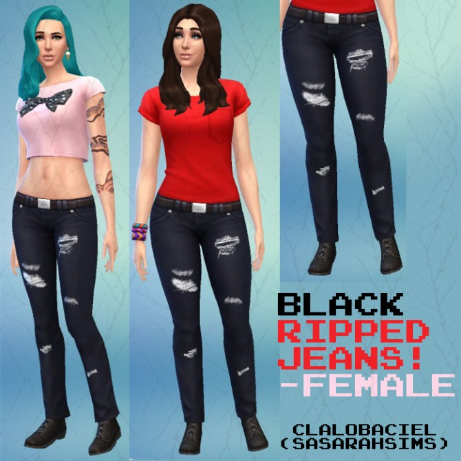 Sims 4 Black Ripped Jeans by Clalobaciel at Mod The Sims