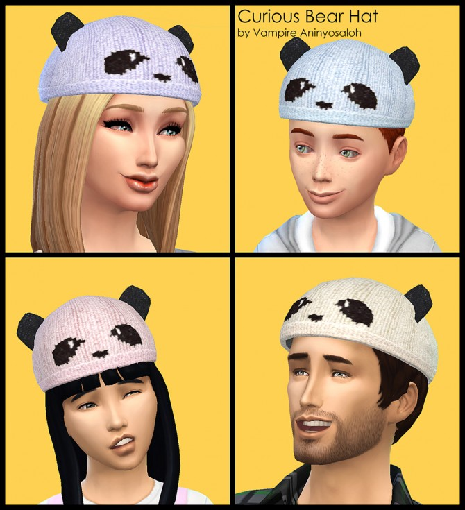 Curious Bear Hat ALL ages & genders by Vampire aninyosaloh at Mod The Sims image 5525 Sims 4 Updates