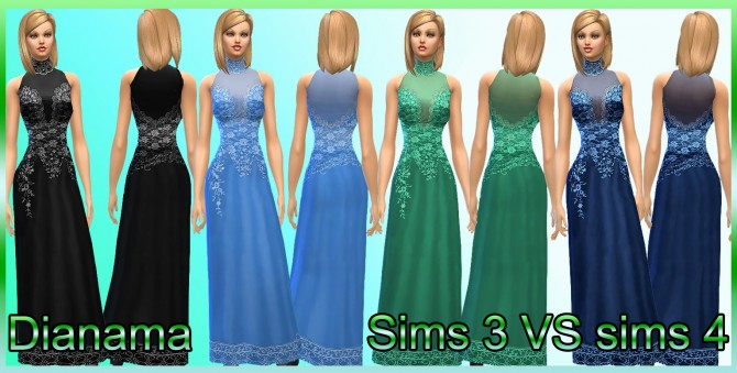 Sims 4 Sims 3 VS Sims 4 gown by Dianama at Saratella's Place