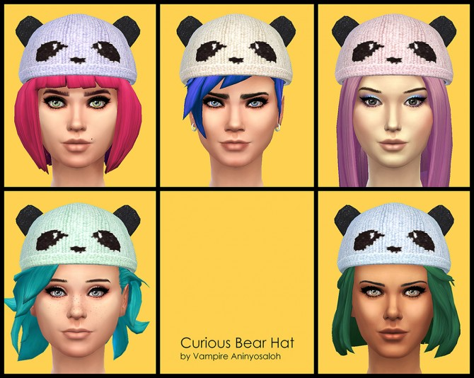 Curious Bear Hat ALL ages & genders by Vampire aninyosaloh at Mod The Sims image 5626 Sims 4 Updates