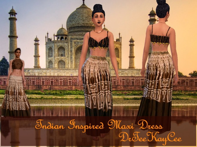 Sims 4 Indian Inspired Maxi dress by DrTeeKayCee at Sim Culture Nation