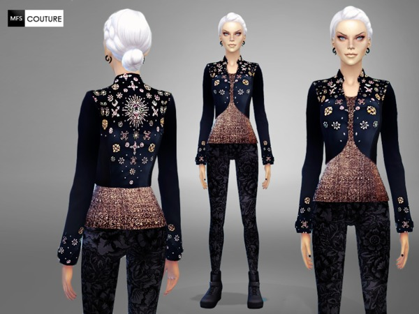 Sims 4 Embellished Short Jacket by MissFortune at TSR