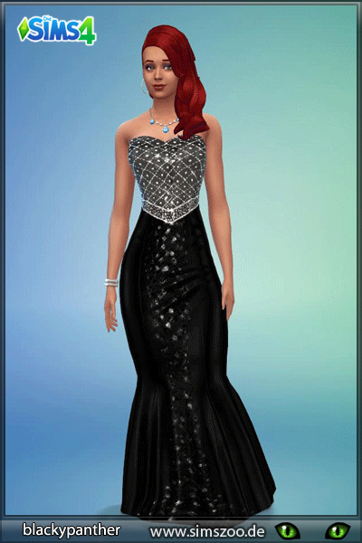 Sims 4 Black Glitter dress by blackypanther at Blacky's Sims Zoo