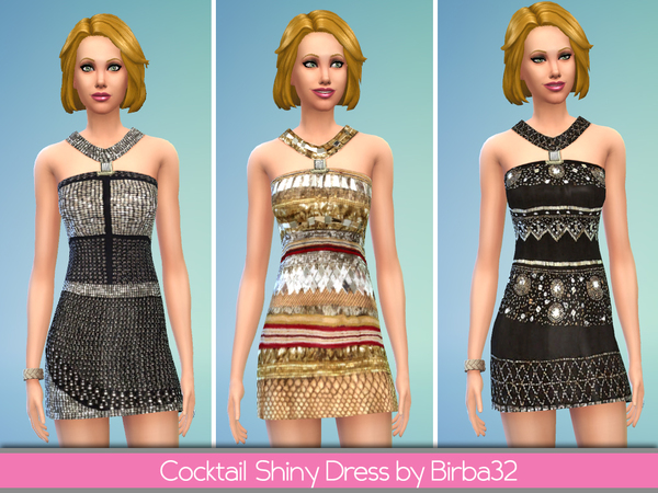 Sims 4 Cocktail Shiny Dress by Birba32 at The Sims Resource