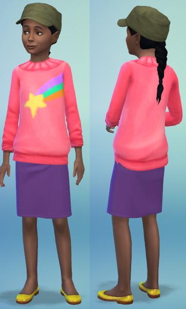 Sims 4 Mabels rainbow sweater and purple dress at Jongarakun's Junk