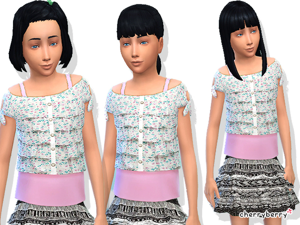Sims 4 Ruffle clothing for girls by CherryBerrySim at TSR