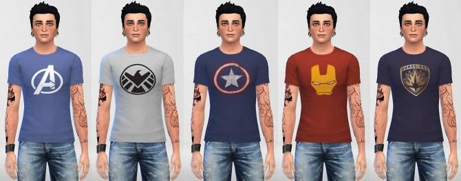 Sims 4 Male Superhero Shirts part 1 at ThatMalorieGirl