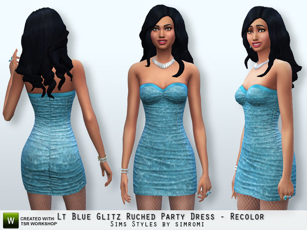 Sims 4 Glitz Ruched Party Dress Recolor Set by Simromi at The Sims Resource