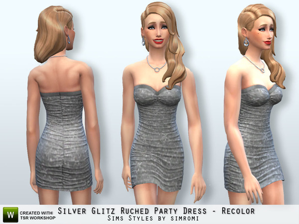Glitz Ruched Party Dress Recolor Set by Simromi at The Sims Resource image 653 Sims 4 Updates