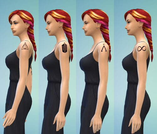 Fandom Shoulder Tattoos by ERae013 at Adventures in Geekiness image 6611 Sims 4 Updates