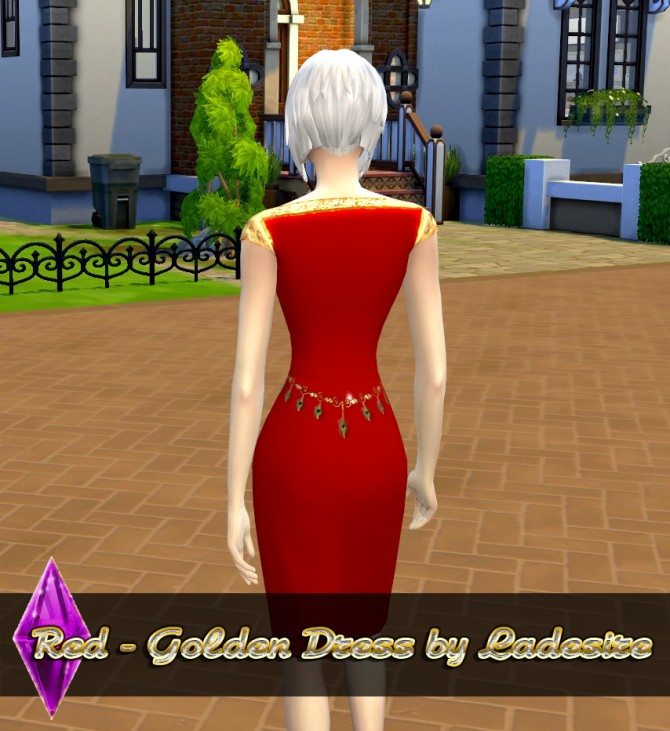 Sims 4 Red   Golden Dress at Ladesire