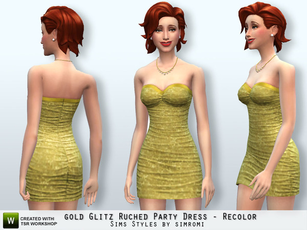 Glitz Ruched Party Dress Recolor Set by Simromi at The Sims Resource image 663 Sims 4 Updates